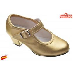 Zapato de Flamenca Oro. Pasos de Baile