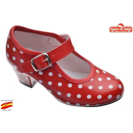Zapato de Flamenca Rojo Lunares Blancos.Pasos de Baile