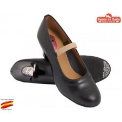 Zapato Pasos de Baile Piel Negro, Con Clavos .