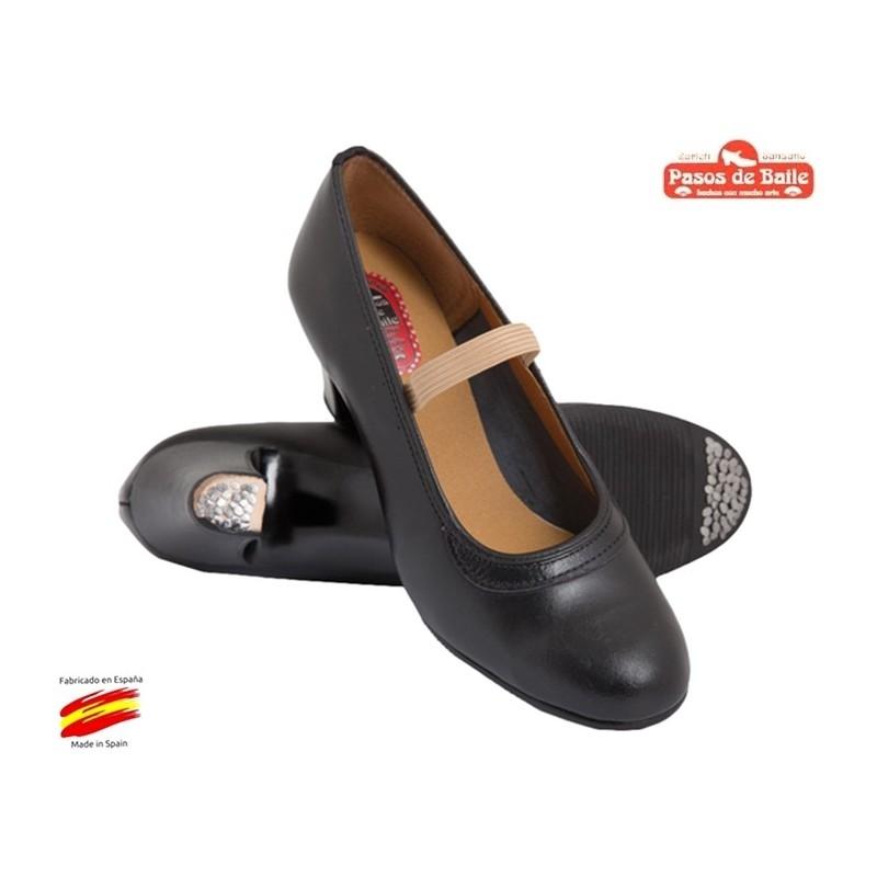 Zapato de Flamenca Negro Piel.Pasos de Baile