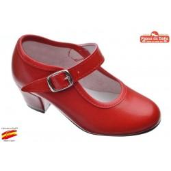 Zapato de Sevillanas-Flamenca Rojo. Pasos de Baile