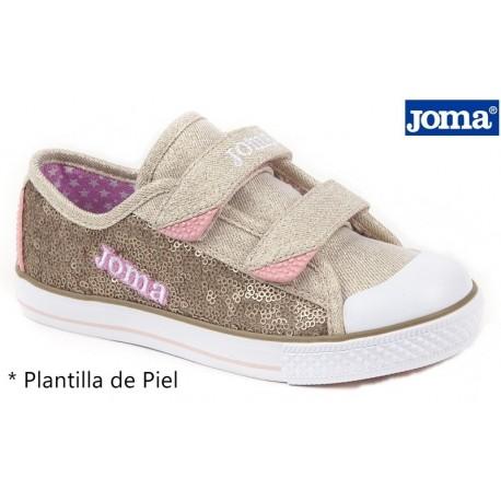 Lona Niña Velcro Marron - Rosa.Joma