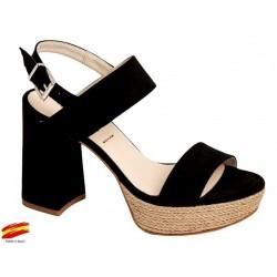 Sandalia Negra Mujer Con Tacón Alto y Plataforma. Alarcón.