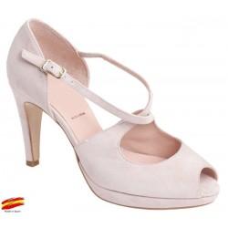 Zapato Mujer Piel Rosa Tacón Con Plataforma. Alarcón.