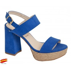 Sandalia Mujer Azul Tacón Alto y Plataforma. Alarcón.