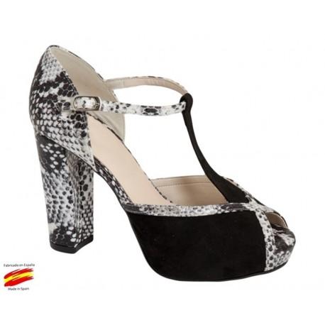 Zapato Vestir con Tacón y Plataforma Negro. Alarcón.