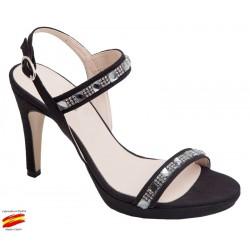Sandalia Mujer Tiras Con Brillantes Tacón Alto. Alarcón.