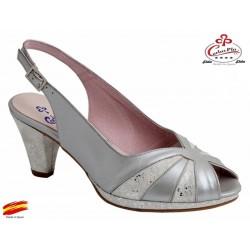 Sandalia Elegante Piel Con Plataforma y Ancho especial. Carlos Pla