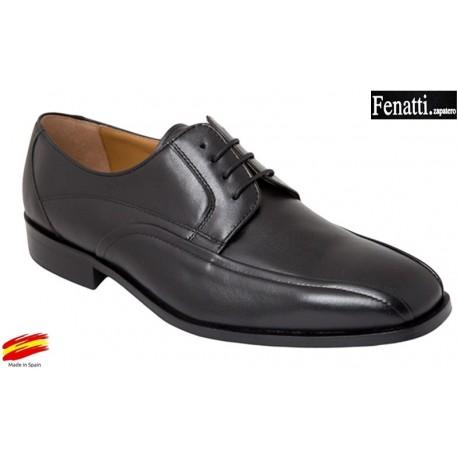Zapato Piel Ancho Especial Negro. Fenatti