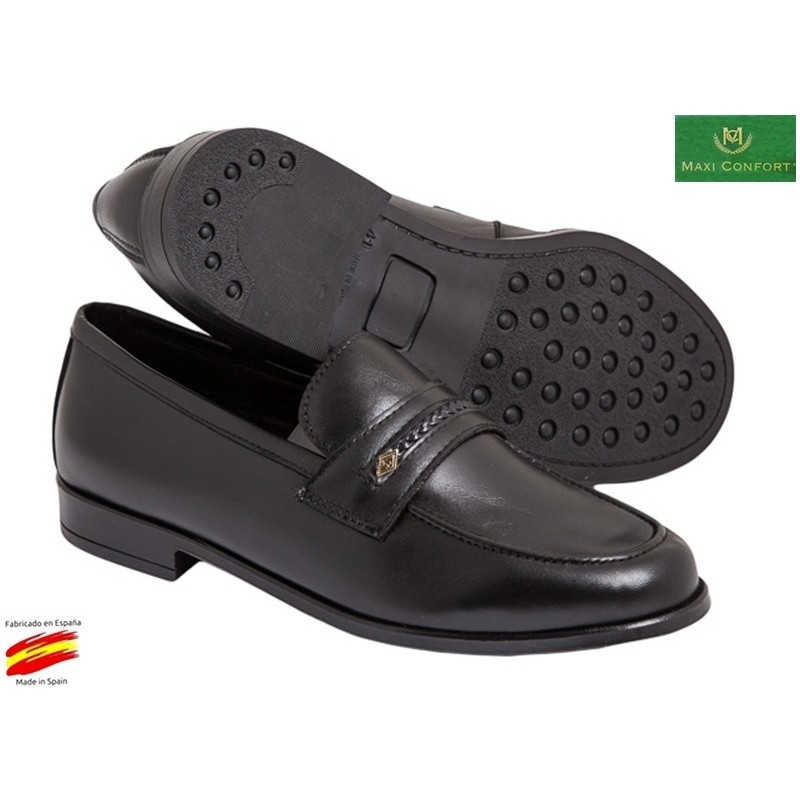 2bb666d3 Zapato Cómodo Piso Goma Piel Negro. Maxi Confort - Ziwi Shoes