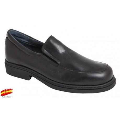 Zapato Cómodo Piso Goma Piel Negro. Farma-Elx