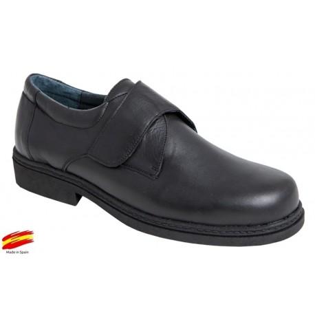 Zapato Con Velcro y Piso Goma Piel Negro. Farma-Elx