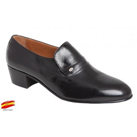 Zapato Tacón Cubano Piel Negro. Almansa