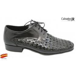 Zapato Almansa Trenzado Piel Ancho Negro. JR Jimenez
