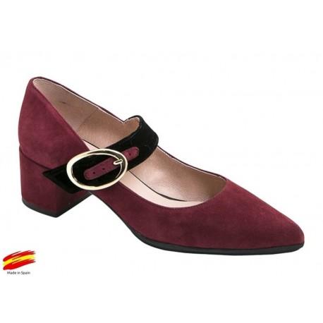 Zapato Cerrado Ante Mujer con Tacón Burdeos. Alarcón.
