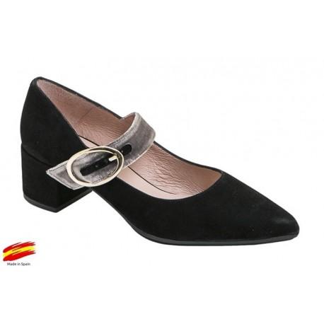 Zapato Mujer Piel Ante Negro con Tacón . Alarcón.