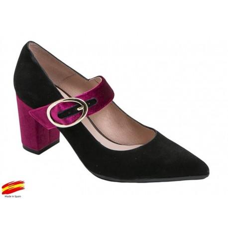 Zapato Mujer Piel Ante Negro-Burdeos con tacón. Alarcón.
