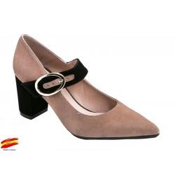 Zapato Mujer Piel Ante Nude-Negro con tacón. Alarcón.
