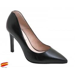 Zapato Mujer Piel Negro con tacón. Alarcón.