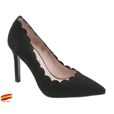 Zapato Mujer Piel Ante Negro con tacón. Alarcón.