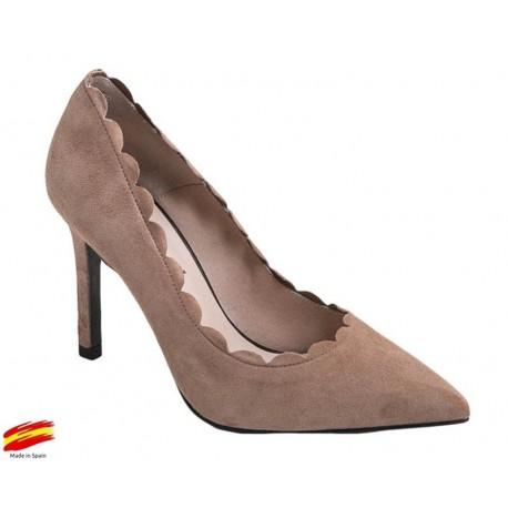 Zapato Mujer Piel Ante Nude con tacón. Alarcón.