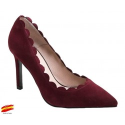 Zapato Mujer Piel Ante Burdeos con tacón. Alarcón.