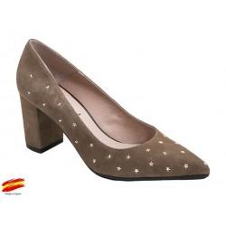 Zapato Mujer Piel Ante Topo con tacón. Alarcón.