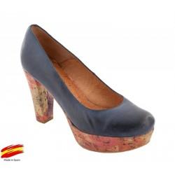 Zapato con Tacón y Plataforma Azul. Alarcón.