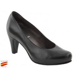 Zapato Salon Piel Mujer Ancho Especial. Sanapie