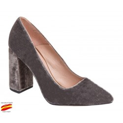 Zapato Mujer Terciopelo Gris . Alarcón.