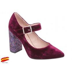 Zapato Mujer Terciopelo Burdeos. Alarcón.