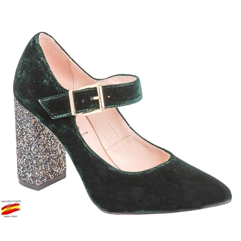 Zapato Mujer Terciopelo Verde Con Tacón. Alarcón.