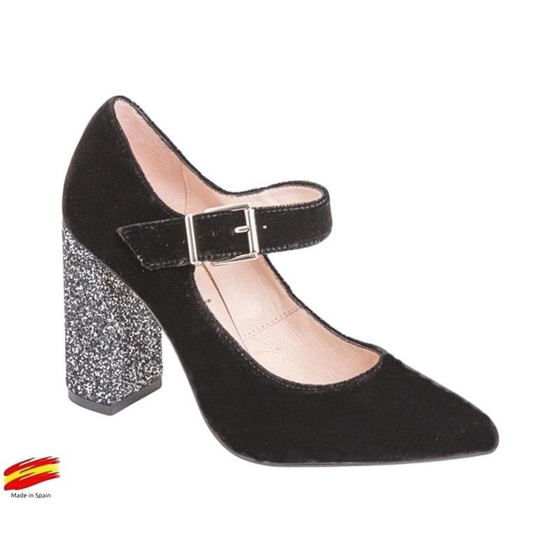 Zapato Mujer Terciopelo Negro. Alarcón.