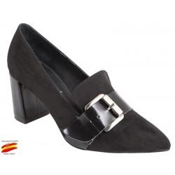 Zapato Mujer Ante Negro. Alarcón.