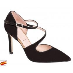 Zapato Mujer Piel Ante Negro. Alarcón.