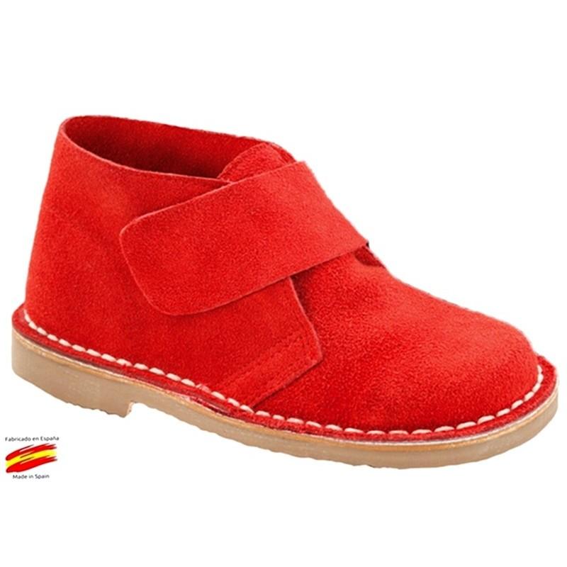 Bota Safari con Velcro Piel Rojo.