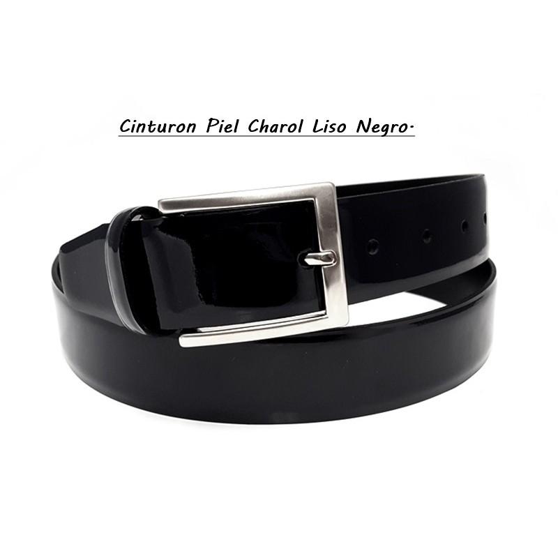Cinturón Piel Charol Liso Negro.