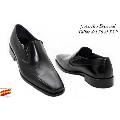 Zapato Piel Ancho Especial Negro. Almansa