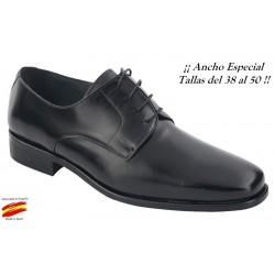 Zapato Todo Piel Negro Ancho Especial 10 . Almansa