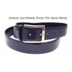 Cinturon Piel Charol Liso y Grabado Puntos Azul.