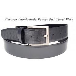 Cinturón Vestir Plata Piel Charol Liso con Grabado Puntos
