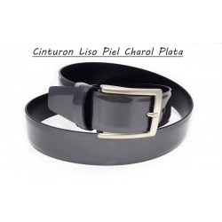 Cinturón Piel Charol Liso Plata.