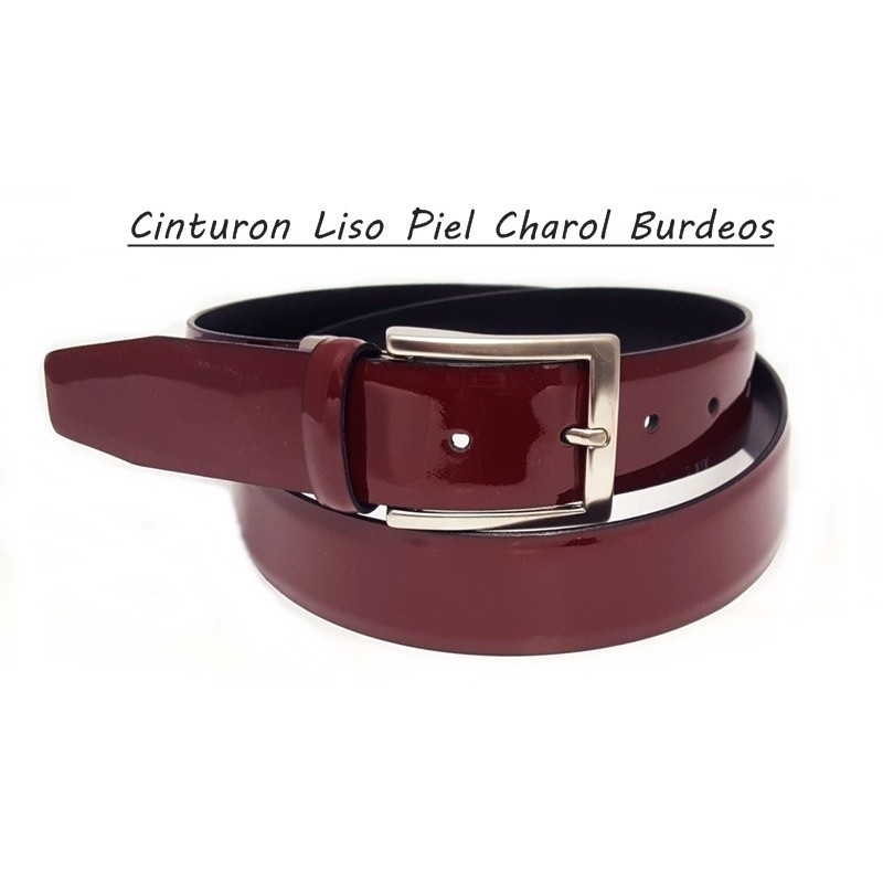 Cinturon Piel Charol Liso Burdeos.