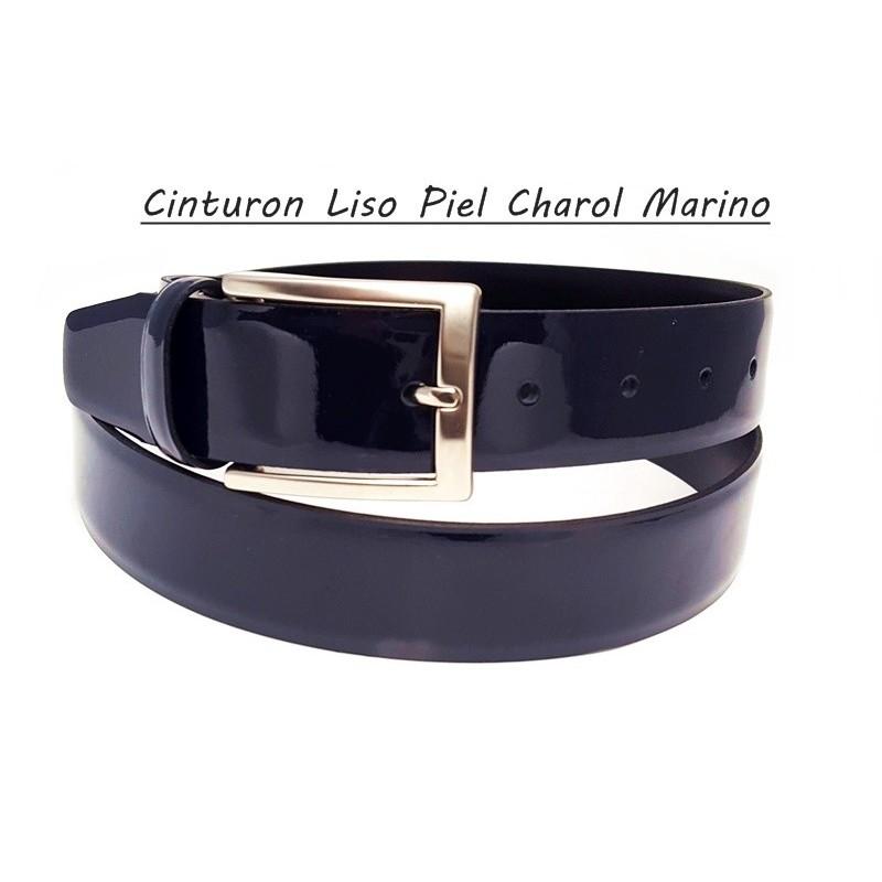 Cinturon Piel Charol Liso Plata.