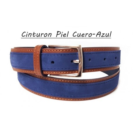 Cinturón Combinado Piel Azul-Cuero.