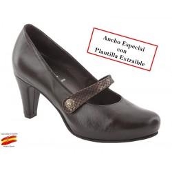 Zapato Piel Ancho Especial y Plantilla Extraible. Sanapie.