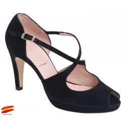 Zapato Mujer Elegante Piel Negro Tacón y Plataforma. Alarcón.
