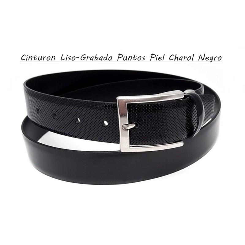 Cinturón Piel Charol Liso y Grabado Puntos Negro.