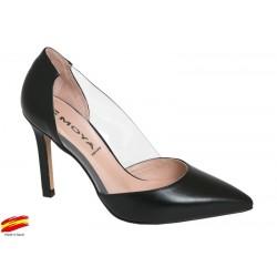 Zapato Mujer Piel y Vinilo con tacón. Alarcón.