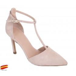 Zapato Mujer con Tacón Alto Piel Ante Rosa. Alarcón.